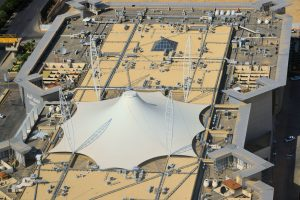 Tensile structure on the roof of the Olaya View shopping center, Riyadh, Saudi Arabia